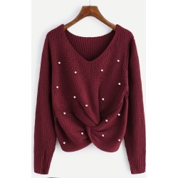Pearl Beaded Detail Twist Sweater found on Bargain Bro Philippines from SHEIN for $28.88