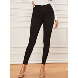 Button Front Black Wash Skinny Jean