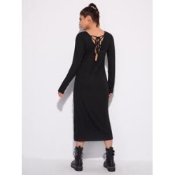 Lace-up Back Split Hem Dress found on Bargain Bro Philippines from Sheinside for $25.00