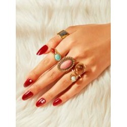 Turquoise Engraved Spiral Ring 4pcs