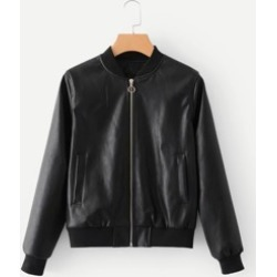 Faux Leather Ribbed Trim Jacket