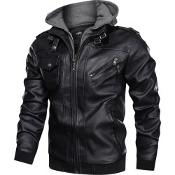 Men Flap Pocket Contrast Hooded PU Jacket found on Bargain Bro Philippines from SHEIN for $67.68