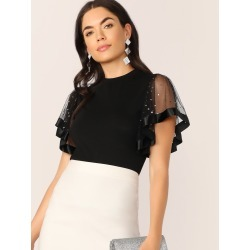 Star Mesh Flutter Sleeve Slim Fitted Tee found on Bargain Bro India from SHEIN for $8.51