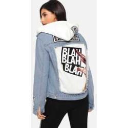 Raw Hem Letter Graphic Denim Jacket