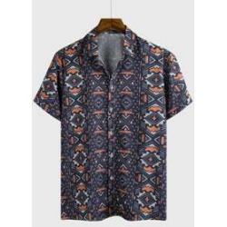 Men Allover Geo Print Shirt found on MODAPINS from Sheinside for USD $14.00