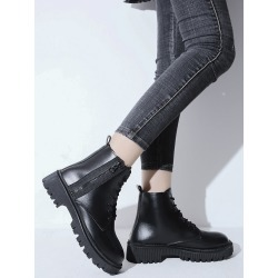 Lace-up Front Side Zip Combat Boots found on Bargain Bro from SHEIN for USD $17.56