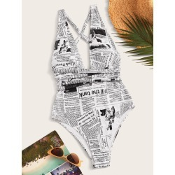 Newspaper Pattern Tie Back One Piece Swimsuit found on Bargain Bro Philippines from SHEIN for $20.72