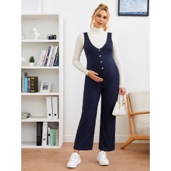 Maternity Button Front Suspender Jumpsuit found on Bargain Bro from SHEIN for USD $17.56