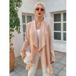 Ruffle Open Front Solid Coat found on Bargain Bro from Sheinside for USD $14.44