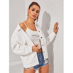 White Wash Button Up Denim Jacket