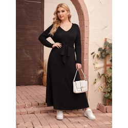 Plus V-neck Belted Tee Dress found on Bargain Bro from SHEIN for USD $17.56