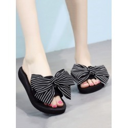Striped Bow Decor Open Toe Sliders found on Bargain Bro India from Sheinside for $7.00