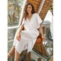 Surplice Neck Cut-out Back Split Thigh Crinkle Dress found on Bargain Bro Philippines from Sheinside for $19.00