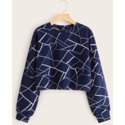 Geo Print Drop Shoulder Pullover found on MODAPINS from Sheinside for USD $7.00
