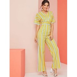 Striped Tie Back V Neck Jumpsuit found on Bargain Bro Philippines from Sheinside for $19.00