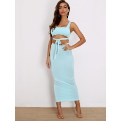 Tie Front Crop Top & Pencil Skirt Set found on Bargain Bro from SHEIN for USD $17.56