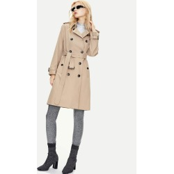 Double Button Front Belted Trench Coat found on Bargain Bro Philippines from SHEIN for $69.15