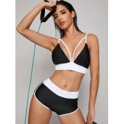 Contrast Side Harness Top With Shorts Bikini Set found on Bargain Bro India from Sheinside for $13.00