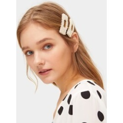 Faux Pearl Decor Square Hair Snap Clip 2pack found on Bargain Bro India from Sheinside for $3.00