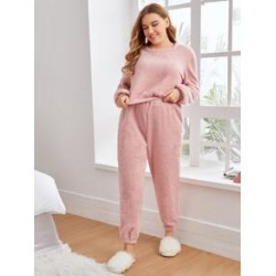 Plus Solid Flannel Pajama Set