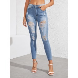 Stonewash Distressed Skinny Jeans found on Bargain Bro from SHEIN for USD $17.56