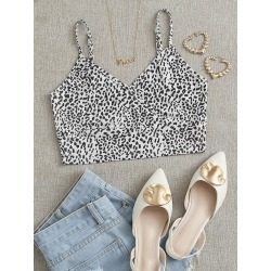 Leopard Wrap Cami Top found on Bargain Bro from SHEIN for USD $4.10