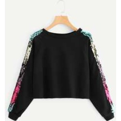 Contrast Sequin Sweatshirt found on Bargain Bro Philippines from Sheinside for $15.00