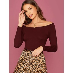Off Shoulder Solid Fitted Top found on Bargain Bro India from SHEIN for $8.51