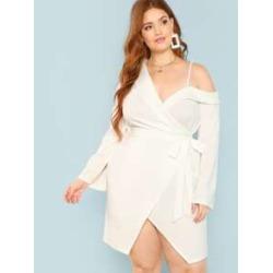Plus Asymmetric Shoulder Wrap Dress