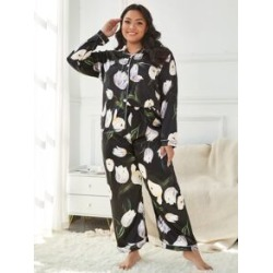 Plus All Over Floral Print Button Front Satin PJ Set found on Bargain Bro from Sheinside for USD $15.96