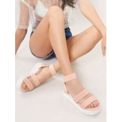 Elastic Twin Band Flatform Foam Sole Sandals