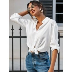 Roll-up Sleeve Solid Button Up Blouse found on Bargain Bro Philippines from Sheinside for $16.00