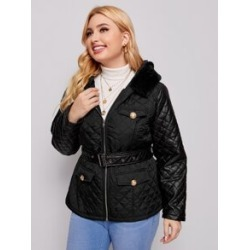 Plus Flap Detail Belted Quilted Hooded Coat