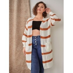Plus Striped Open Front Cardigan