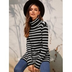 Funnel Neck Rib-knit Striped Sweater