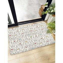 Cartoon Rabbit Overlay Print Floor Mat found on Bargain Bro India from SHEIN for $8.82