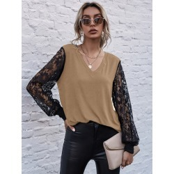 Contrast Lace Sleeve V Neck Top found on Bargain Bro India from SHEIN for $14.45