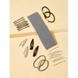 Striped Hair Accessories Set 25pcs