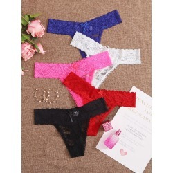 5pack Floral Lace Thong Set found on Bargain Bro from SHEIN for USD $6.41