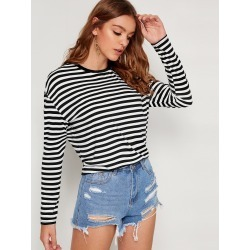 Drop Shoulder Striped Print Tee found on Bargain Bro India from SHEIN for $8.51