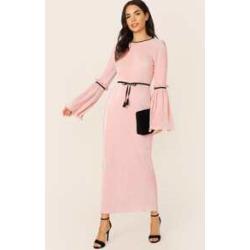 Flounce Sleeve Belted Pleated Longline Hijab Dress
