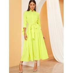 Neon Yellow Knotted Cuff Belted Hijab Dress