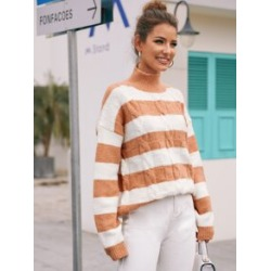 High Neck Two Tone Cable Knit Sweater