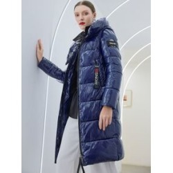 Zip Up Hooded Patched Detail Puffer Coat