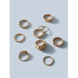 9pcs Textured Metal Ring Set
