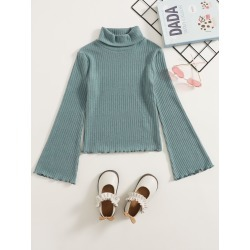Girls Turtle Neck Bell Sleeve Lettuce Trim Top found on Bargain Bro from SHEIN for USD $5.89