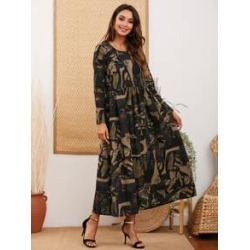 Ink Painting Print Dual Pockets Smock Dress found on MODAPINS from Sheinside for USD $23.00