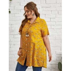 Plus Button Front Allover Floral Blouse found on Bargain Bro Philippines from Sheinside for $16.00