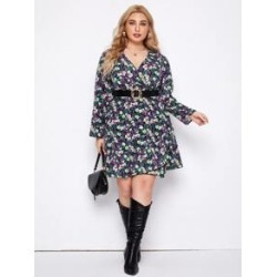 Plus All Over Floral Print Ruffle Hem Dress Without Belt found on Bargain Bro from Sheinside for USD $15.20