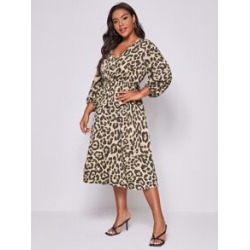 Plus Cheetah Print A Line Dress